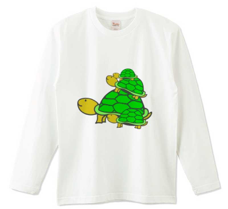 亀タワー長袖Tシャツ
