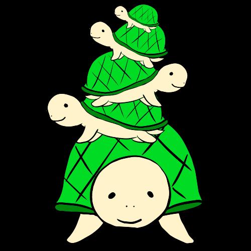 可愛い亀の親子のイラスト