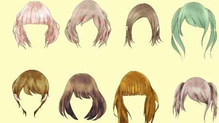 女性の髪型イラスト - ヘアーカタログ・分離可能な素材集