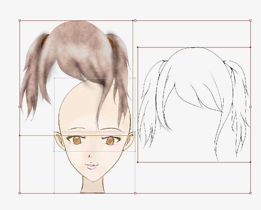 分離する女性の髪・塗・線画