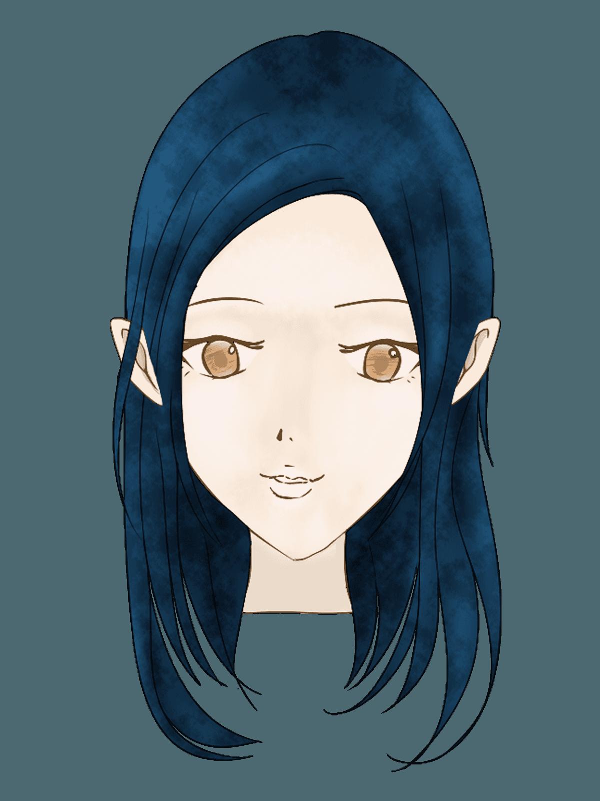 ストレートロングカットの女性の髪型イラスト