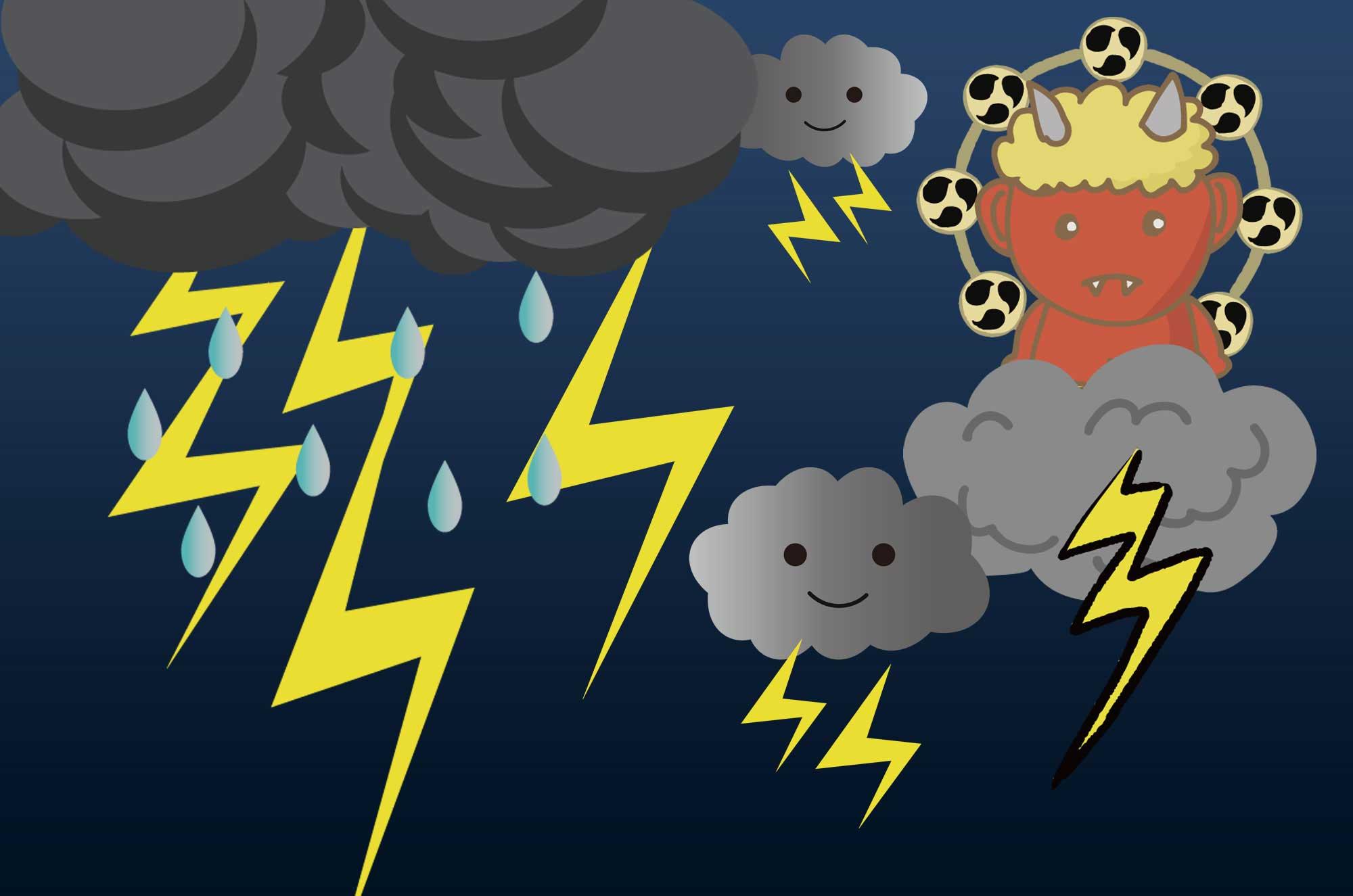雷のイラスト - 可愛い雷神と雲と稲妻の自然無料素材