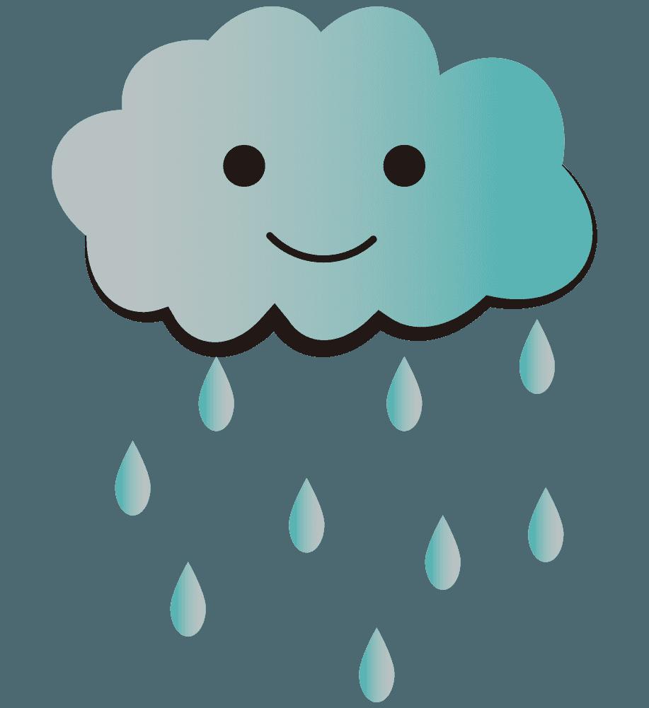 雨雷と雨のイラスト