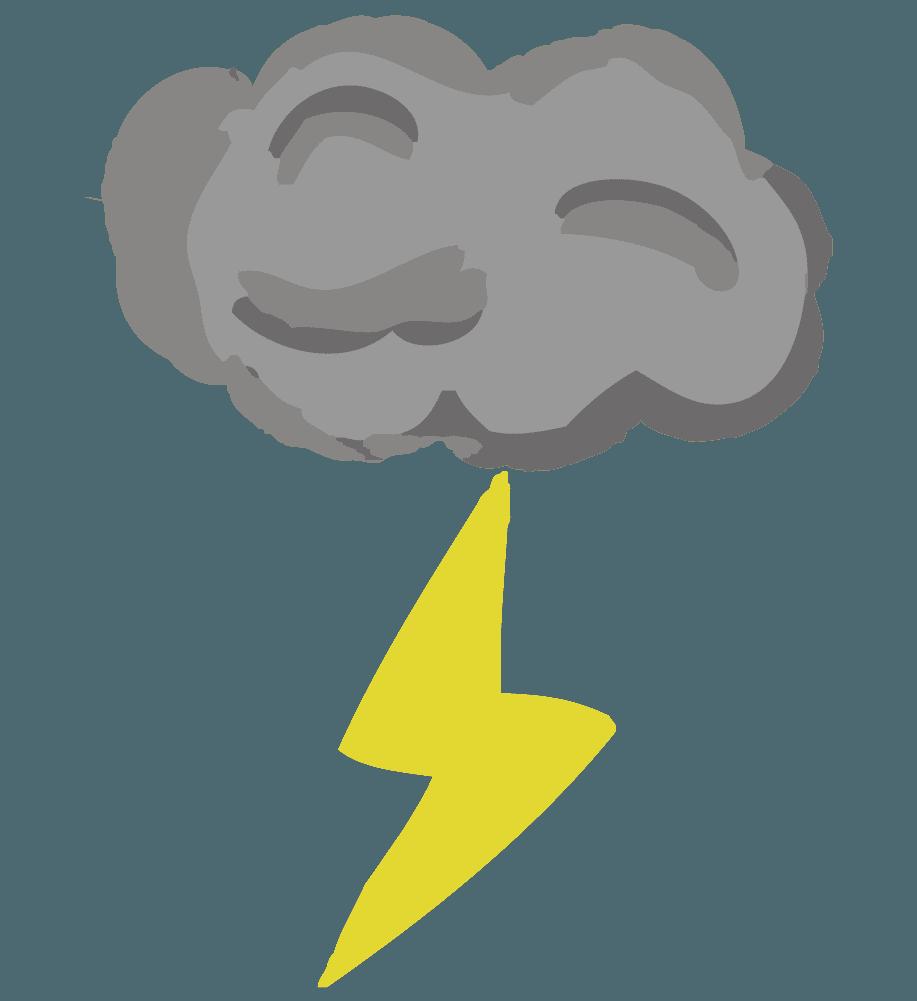 手書きの可愛い雨雲と雷のイラスト