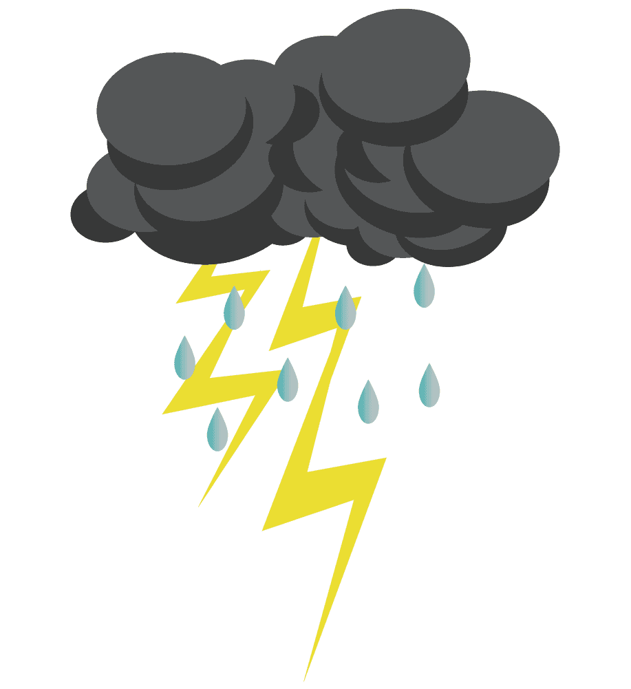 雨と稲妻と雷雲のイラスト