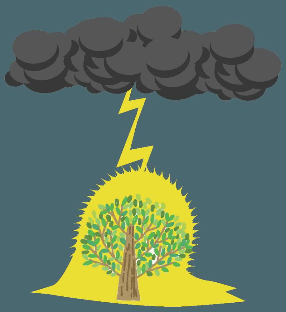 木の落雷シーンのイラスト