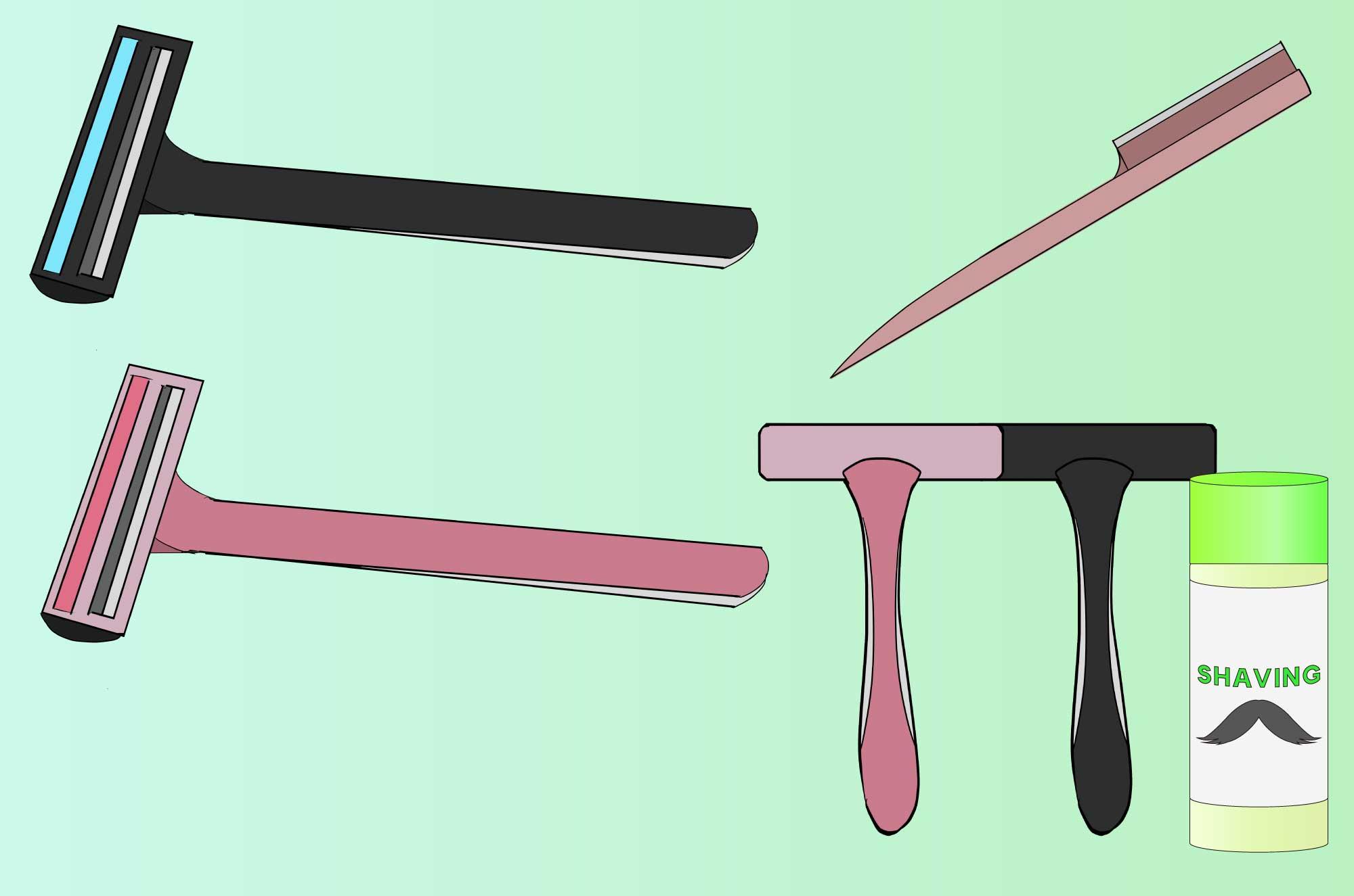 カミソリのイラスト - ヒゲ剃り道具日用品の素材