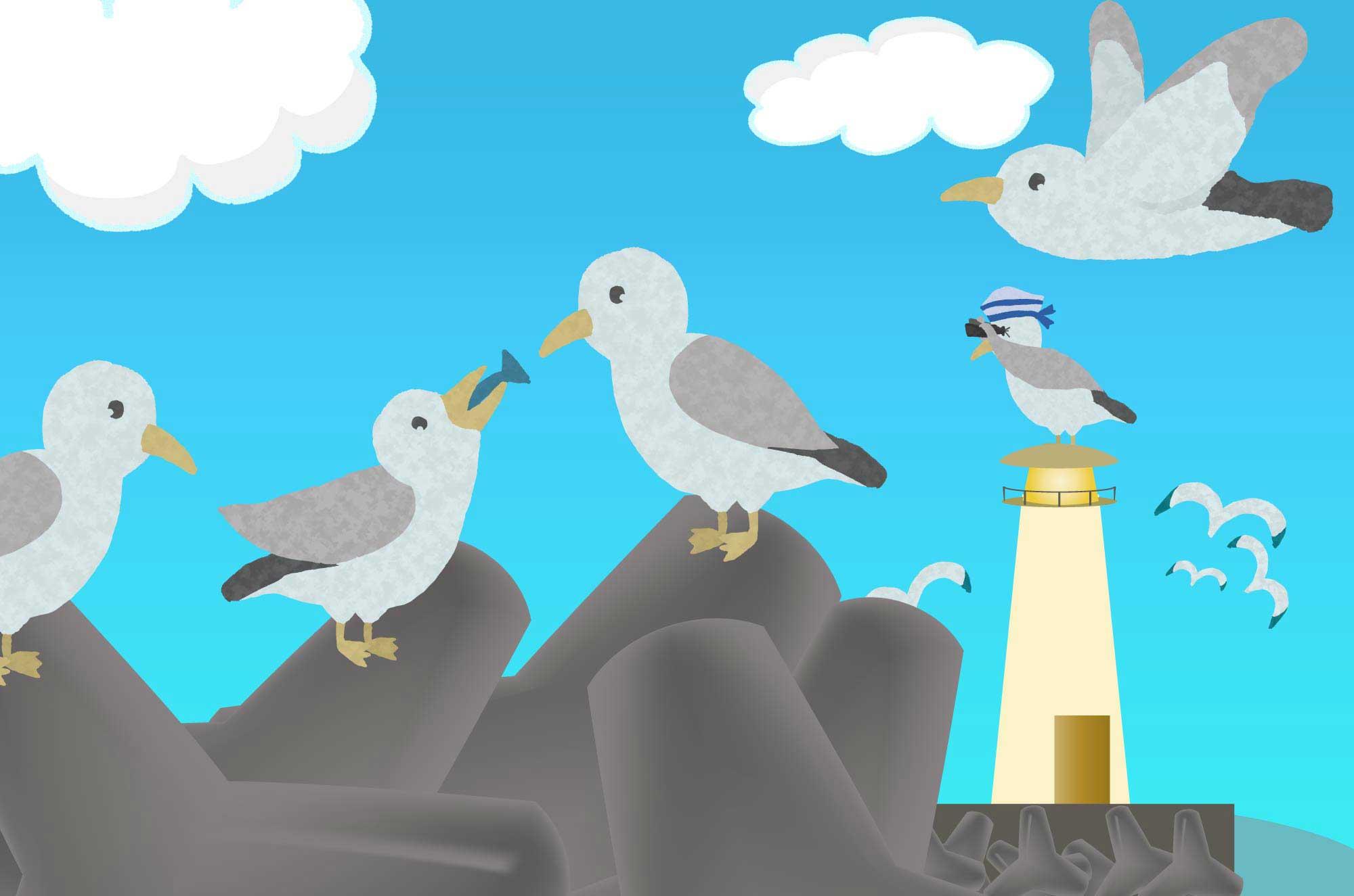 かもめのイラスト - 無料で使える可愛い海の鳥素材
