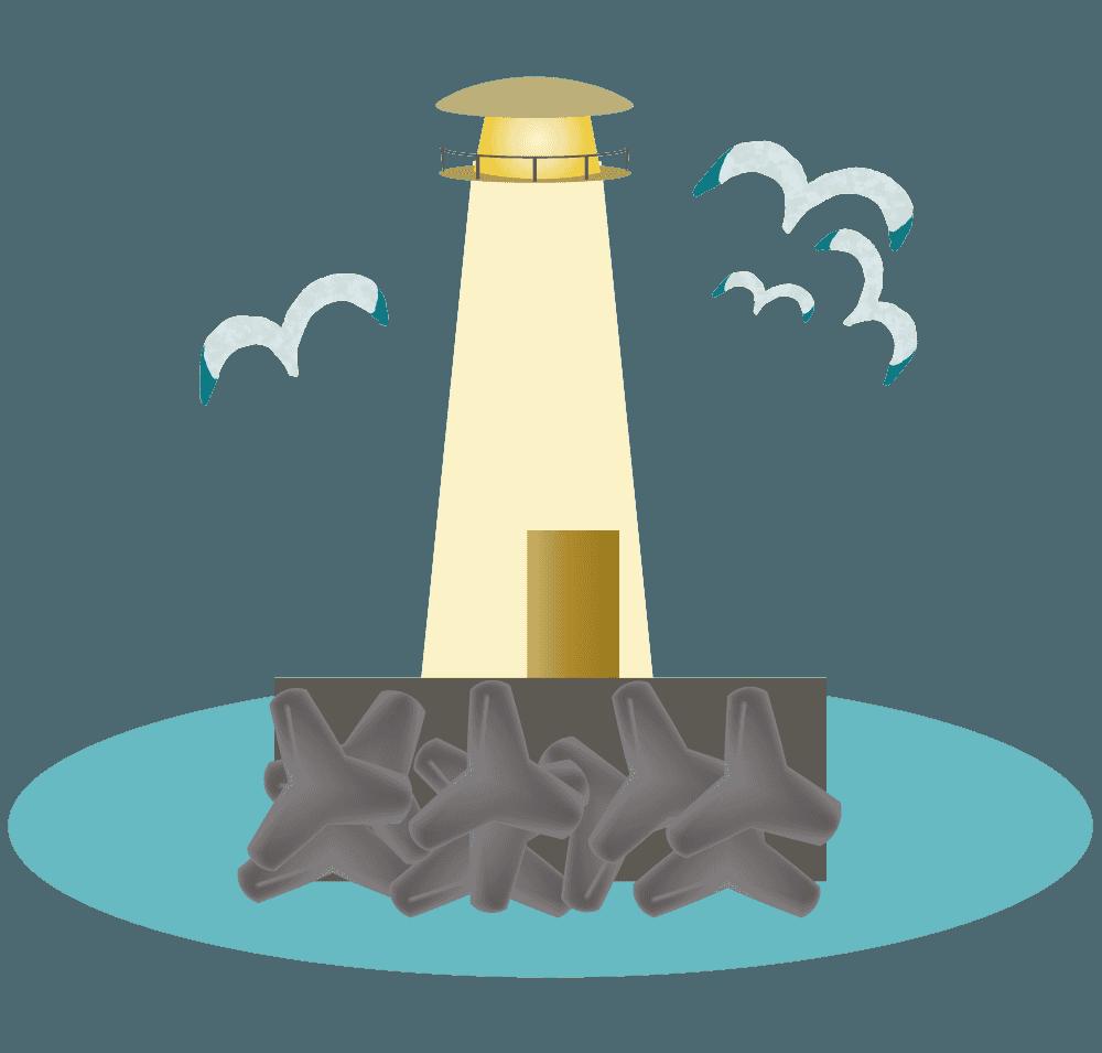 灯台の周りを飛ぶかもめイラスト