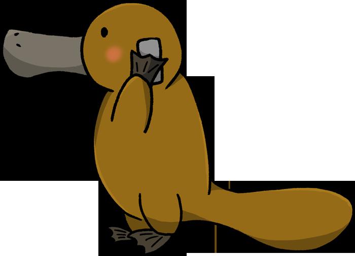 携帯電話で電話するカモノハシのイラスト