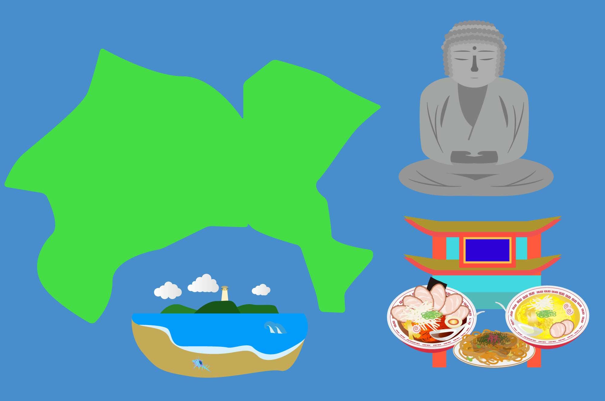 神奈川のイラスト - 大仏や中華街、江ノ島の無料素材