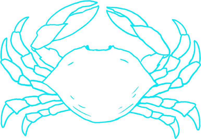 蟹の線画イラスト