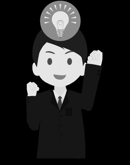 閃くビジネスマン(白黒)のイラスト