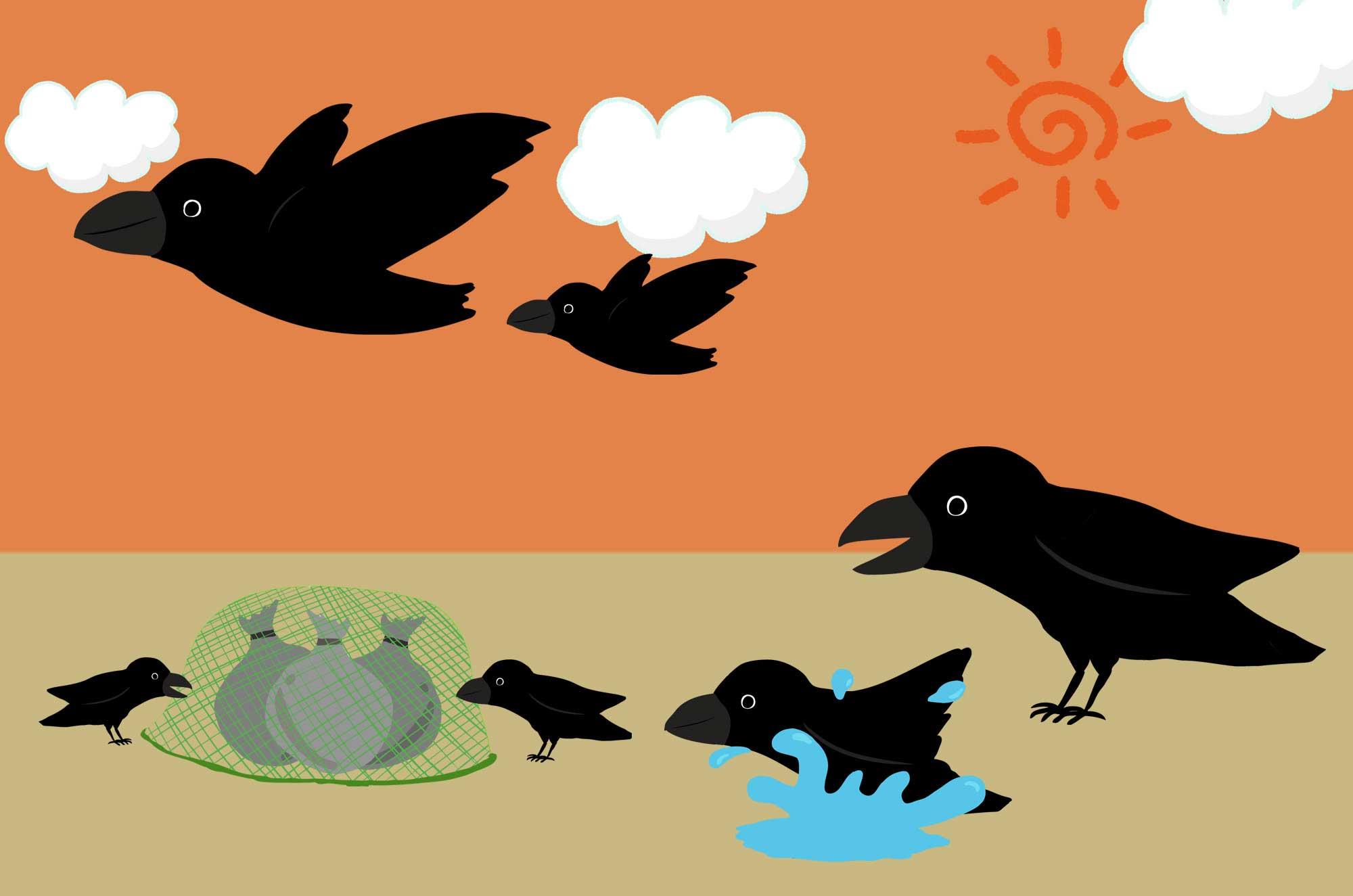 カラスのイラスト - 飛ぶ・寝る可愛い鳥のフリー素材