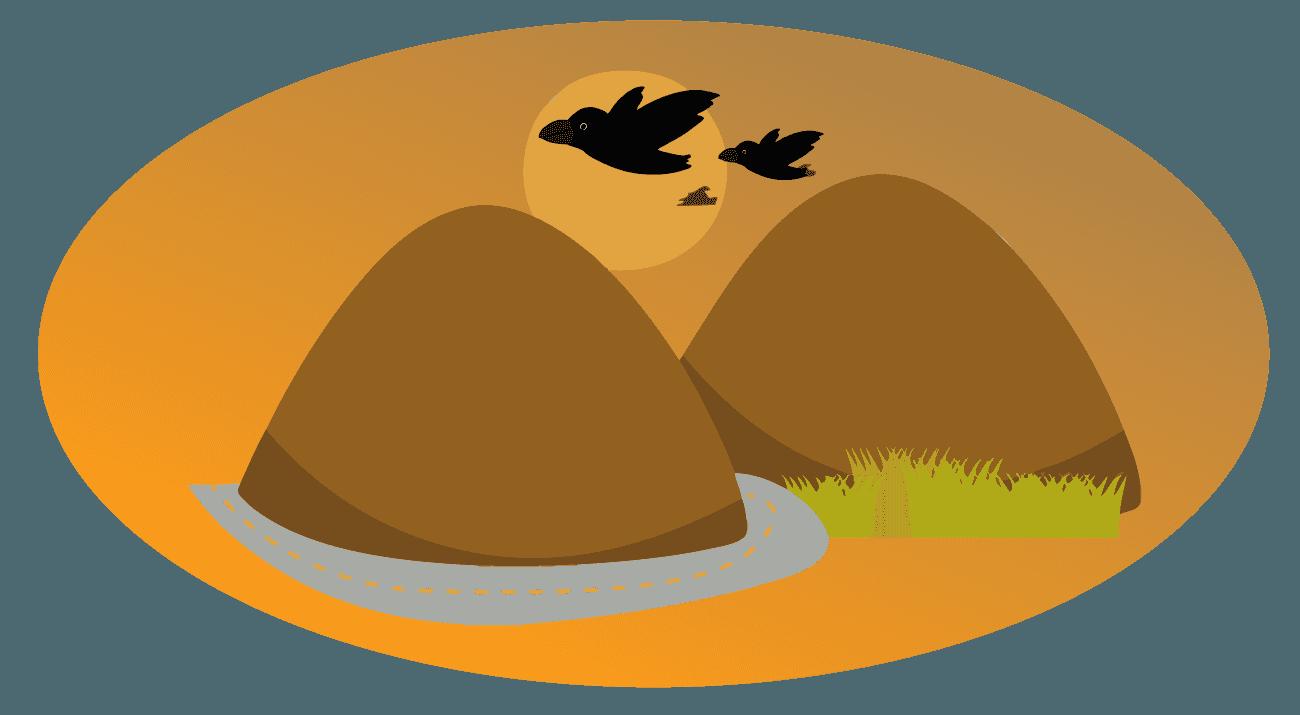 カラスの親子と夕焼けの山のイラスト