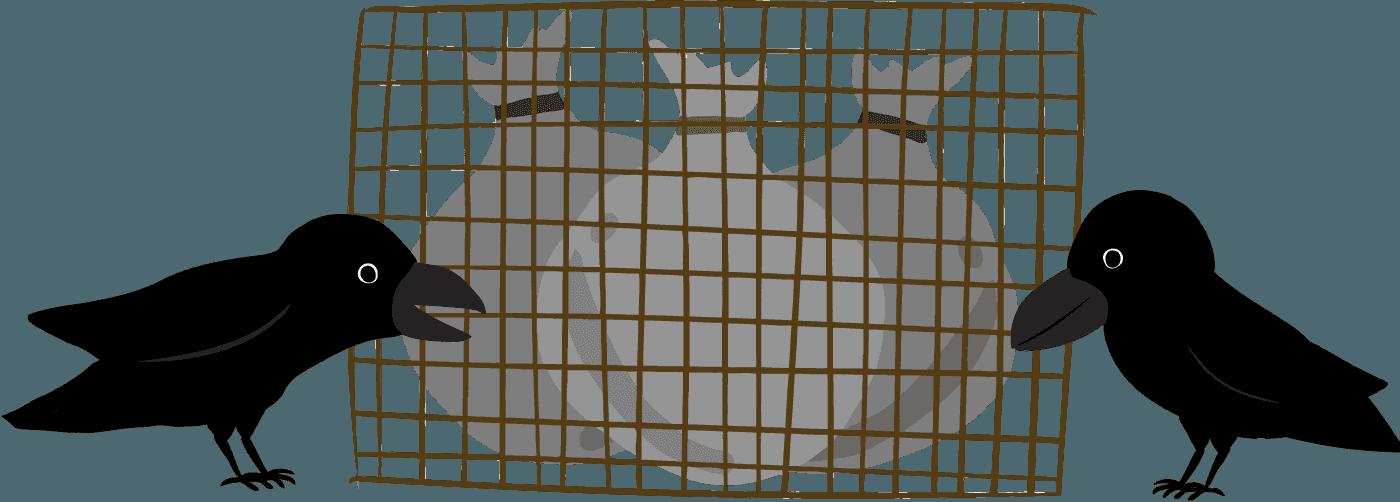 金網越しのゴミを突っつくカラスのイラスト