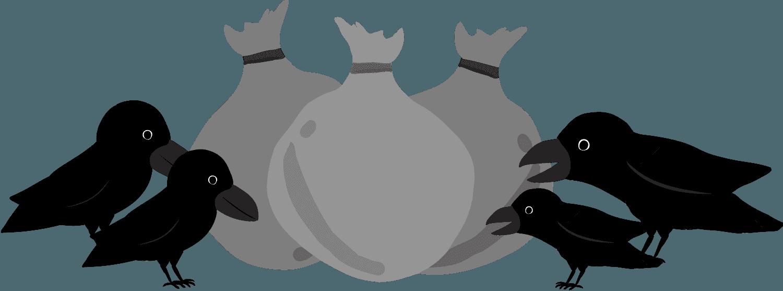 ゴミを突っつくカラスの群れイラスト
