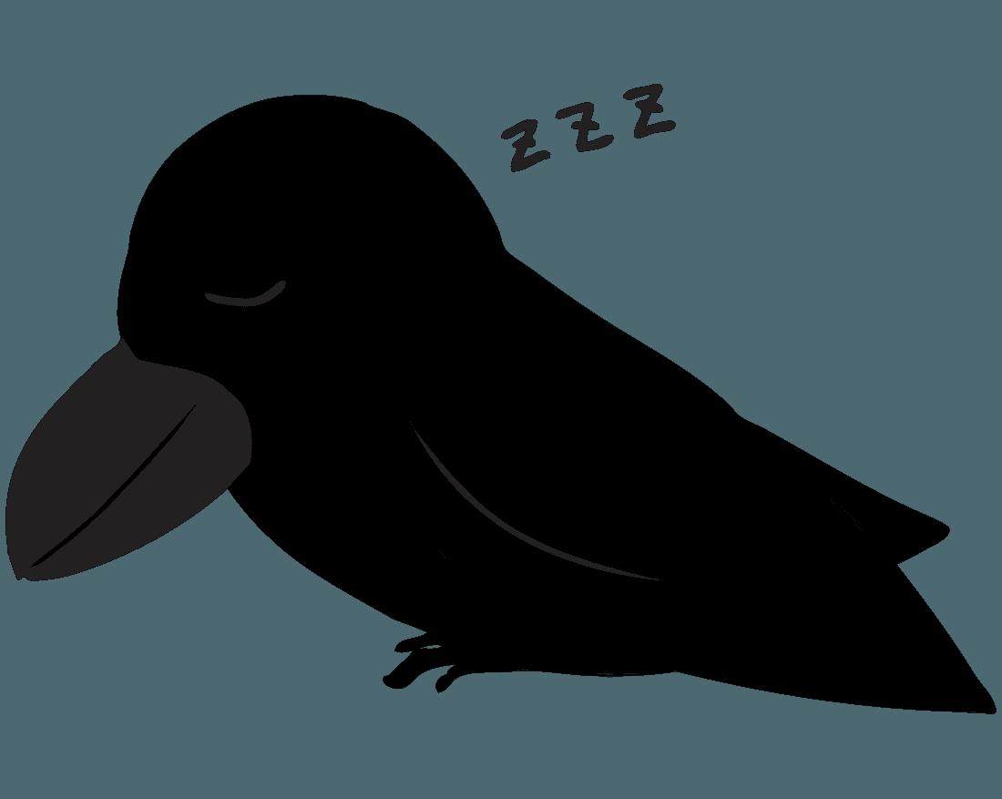 寝るカラスイラスト