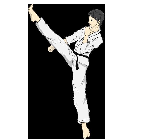 前蹴りをする空手のイメージイラスト