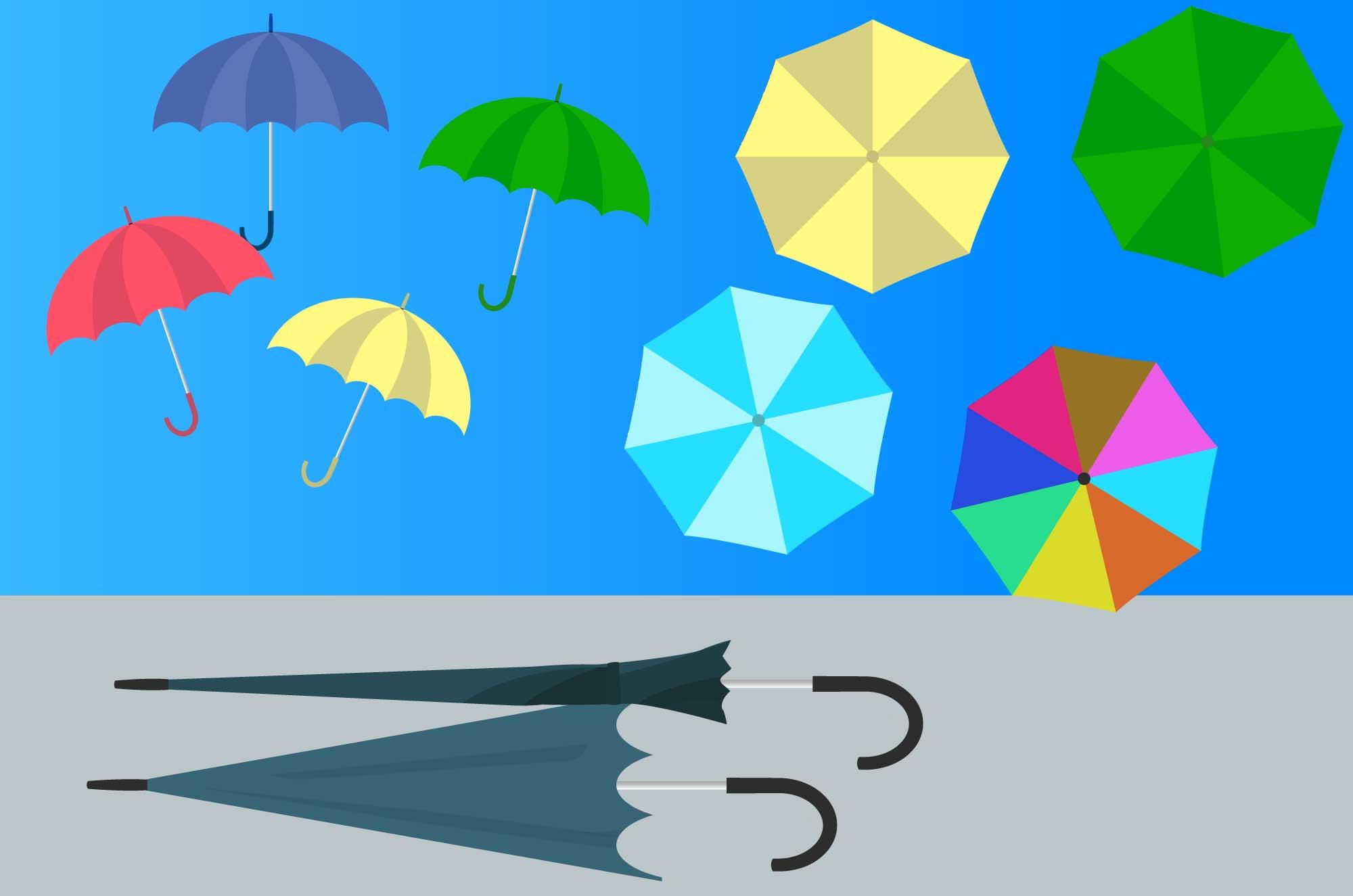 傘の無料イラスト - 雨マークと雨具の日用生活品素材