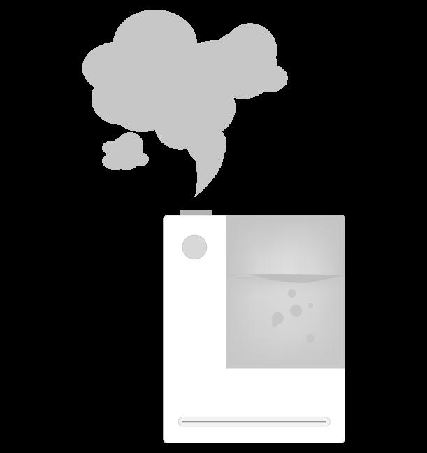 白黒の加湿器のイラスト