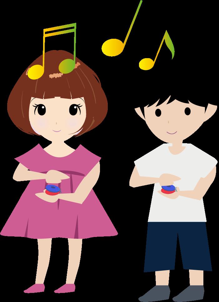 カスタネットを演奏する可愛い園児のイラスト