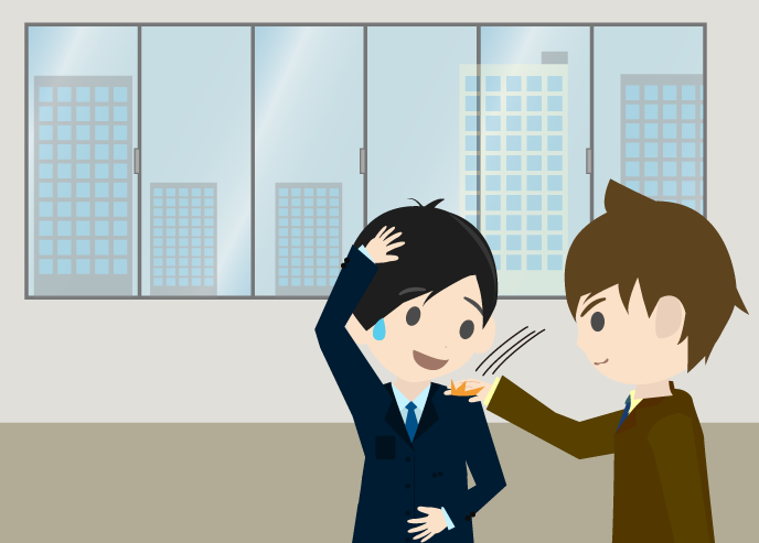肩を叩かれるビジネスマンのイラスト(背景あり)