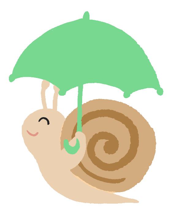傘をさす可愛いかたつむりのイラスト
