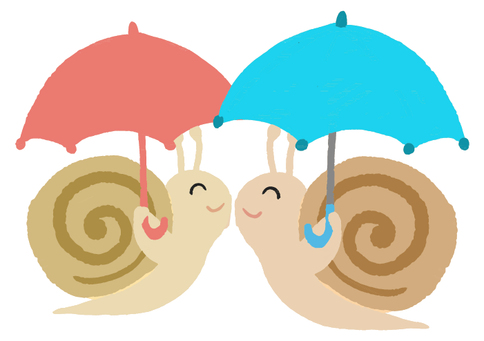 傘を嬉しそうにさす可愛いかたつむりのイラスト