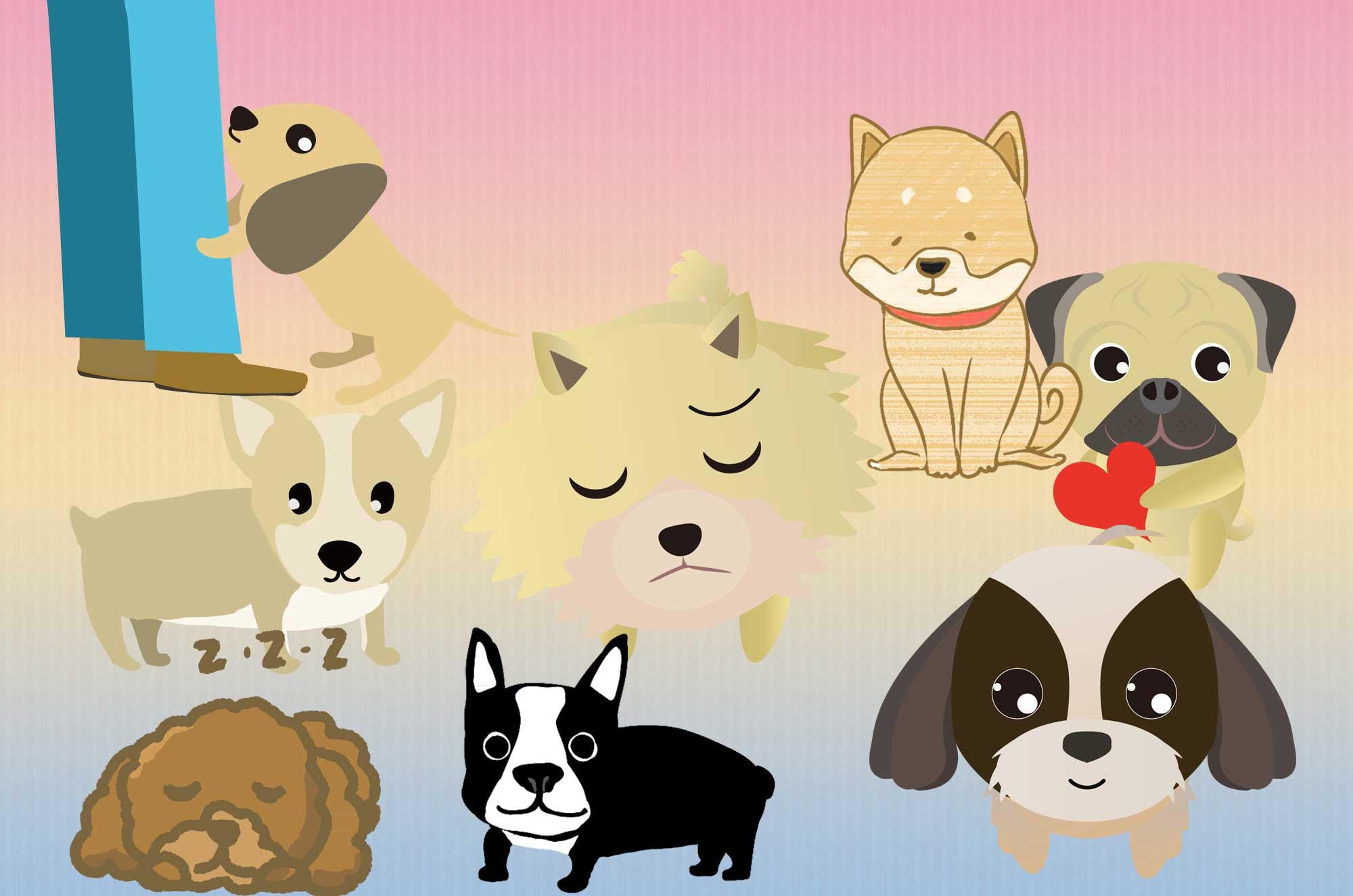 可愛い犬のイラスト集 - 面白い動物キャラクター無料素材