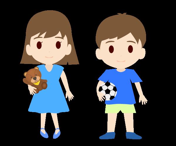 可愛い男の子と女の子のイラスト(カラー)
