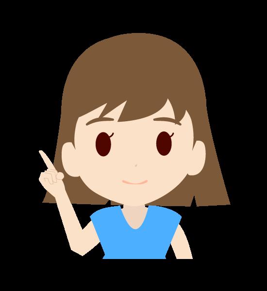 右手で指を差す可愛い女の子のイラスト