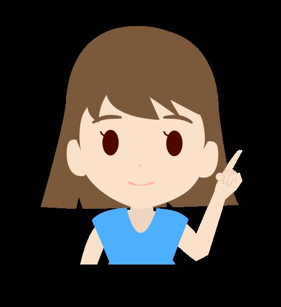 左手で指を差す可愛い女の子のイラスト