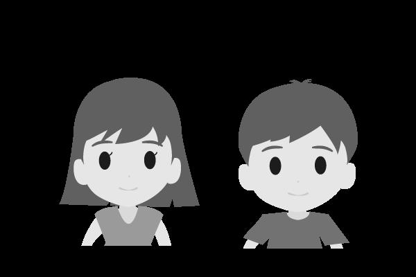 可愛い男の子と女の子のイラスト(白黒)