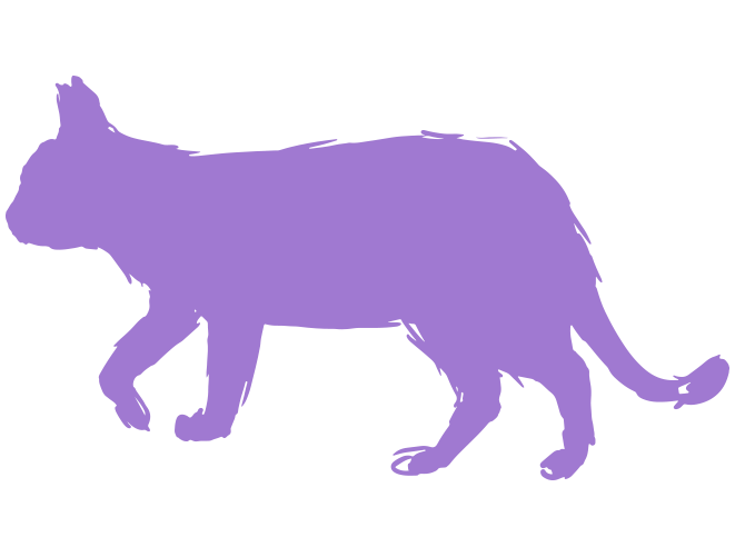 おしゃれな歩く猫のイラスト