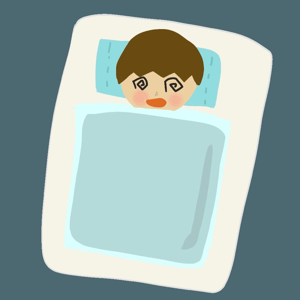 風邪で寝込む人イラスト