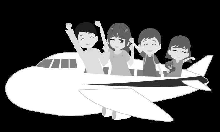 飛行機で家族旅行のイラスト(白黒)