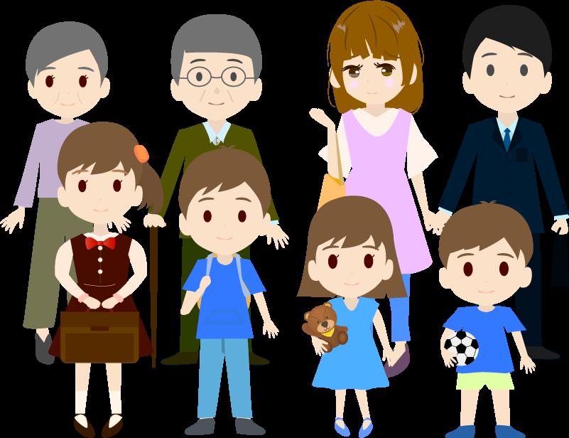 家族三世帯(カラー)のイラスト