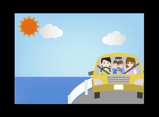 夏の海へドライブする家族のイラスト