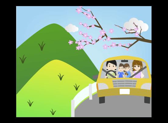 春の山へドライブする家族のイラスト