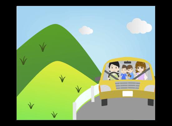 夏の山へドライブする家族のイラスト