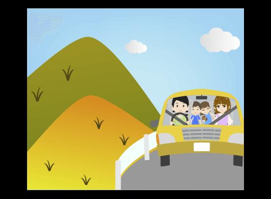 秋の山へドライブする家族のイラスト