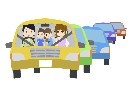 渋滞に巻き込まれる家族のイラスト