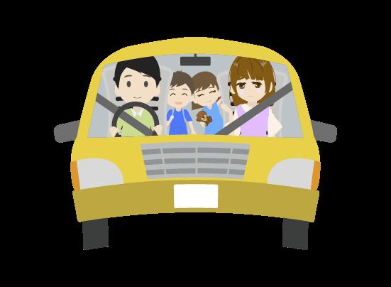 ドライブする家族のイラスト