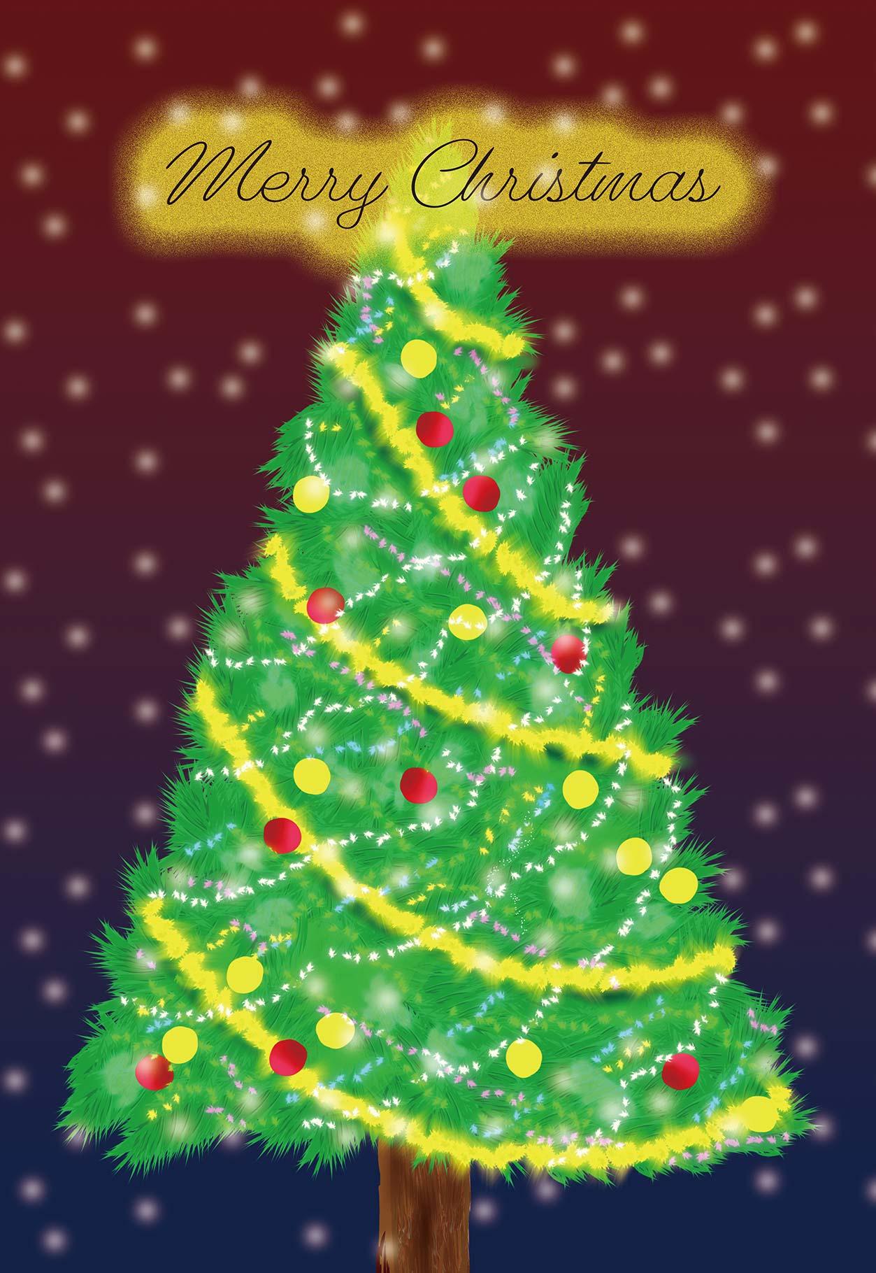 輝クリスマスツリーのイラスト