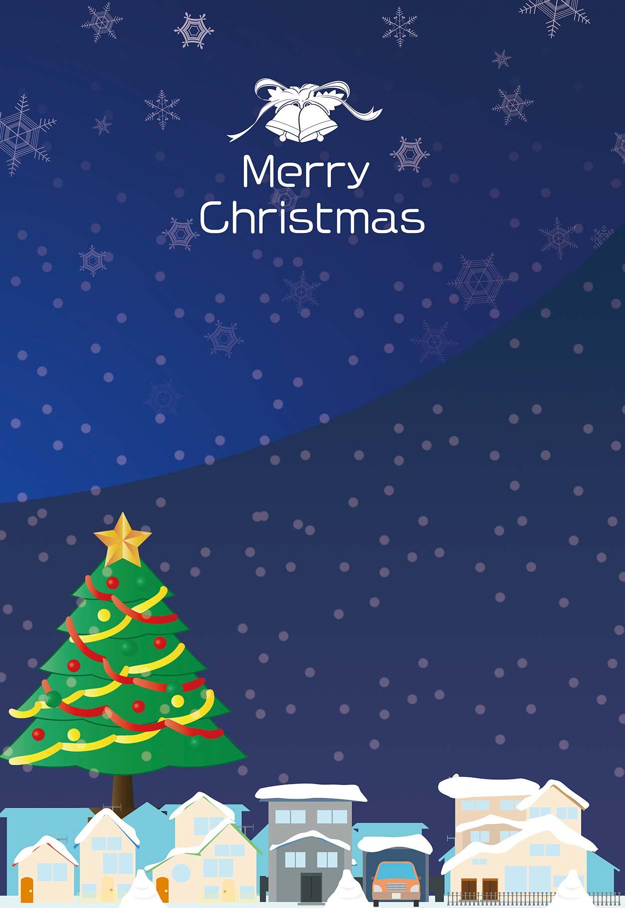 クリスマスと街のイラスト