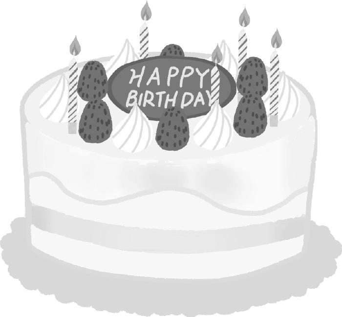 白黒ケーキのイラスト