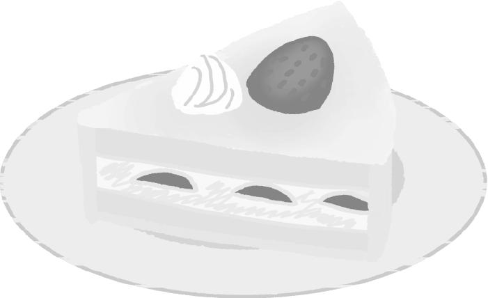 白黒ショートケーキのイラスト