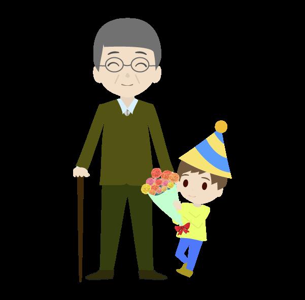 おじいちゃんと孫と花束のイラスト