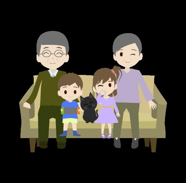 シニアと孫たちのイラスト